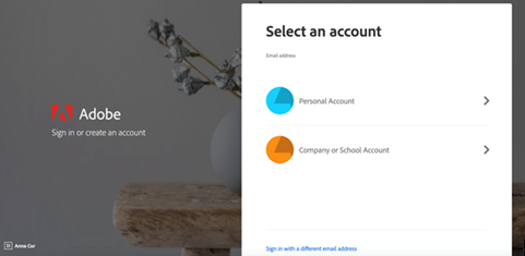 Screen Shot of Adobe Select Account Screen