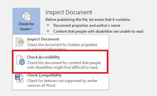 The check accessibility option is highlighted under the check for issues dropdown menu