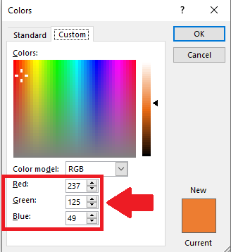 Colors dialog box, custom tab is selected. The RGB code is highlighted for the selected color text in the document.