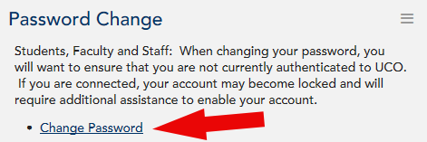 Password change portlet with Change Password highlighted