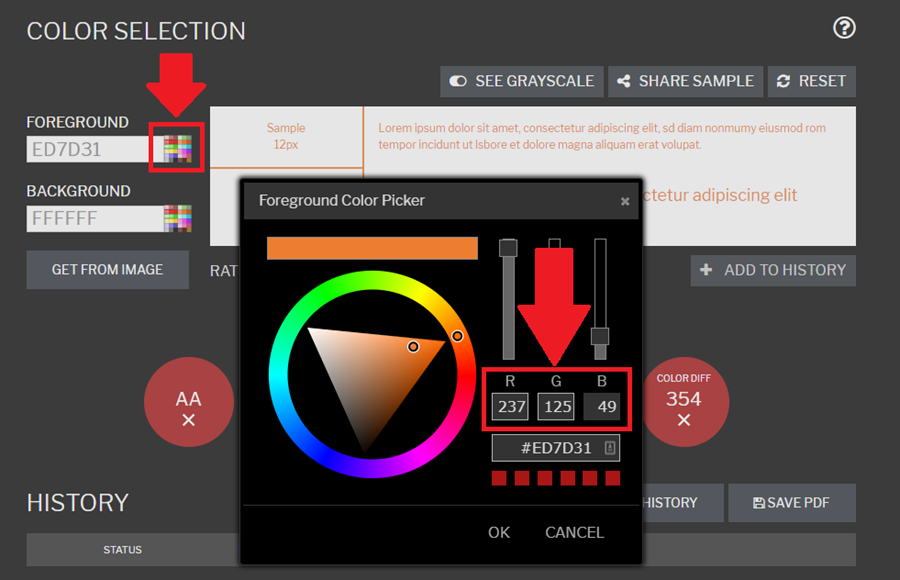 Multicolor square is highlighted to the right of the Hex code under foreground. This pulls up the RGB color selection