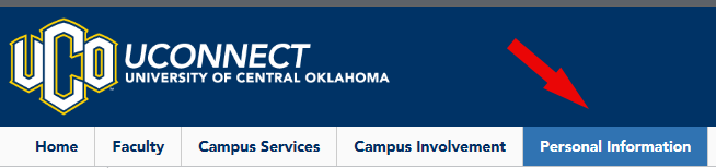 Uconnet with Personal Information selected