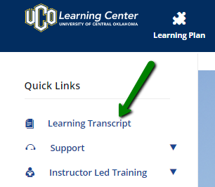 Quick links menu containing Learning Transcripts link