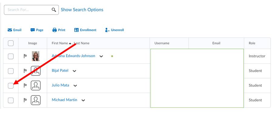 Screenshot Classlist click arrow to left of student to unenroll