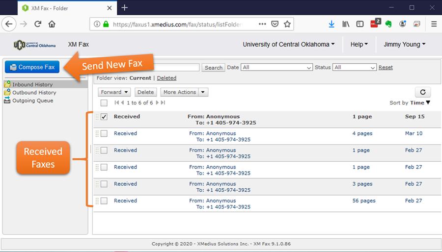 Xmedius fax portal screen shot