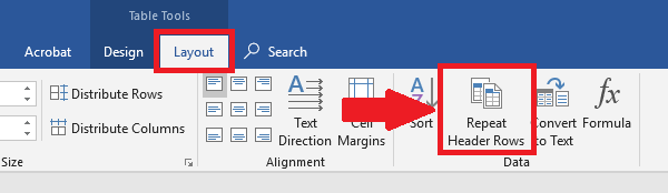 Layout tab is one of two options under table tools. Repeat Header Rows is highlighted.