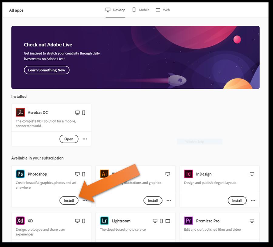 Screenshot of Adobe Creative Cloud Desktop