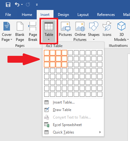Table option has a dropdown menu in order to select rows and columns for the table
