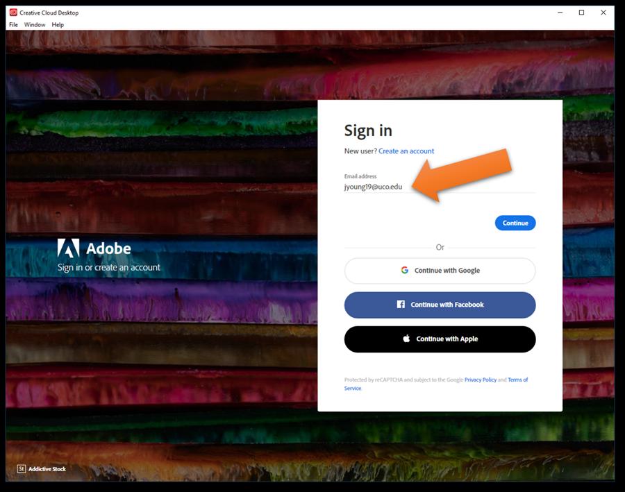 Screenshot of Adobe Creative Cloud Sign in Screen