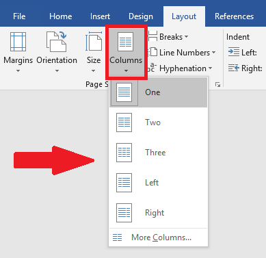 Columns option is highlighted and selected, revealing multiple options.