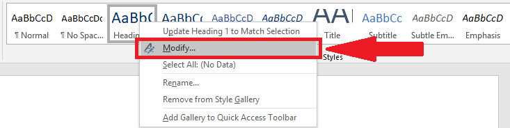 Modify heading style option is highlighted
